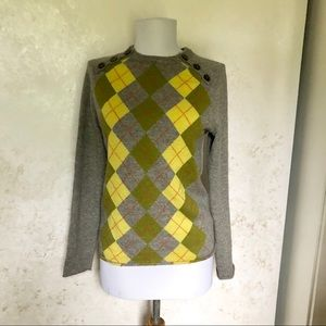 J. Crew S 100% Cashmere Argyle Sweater